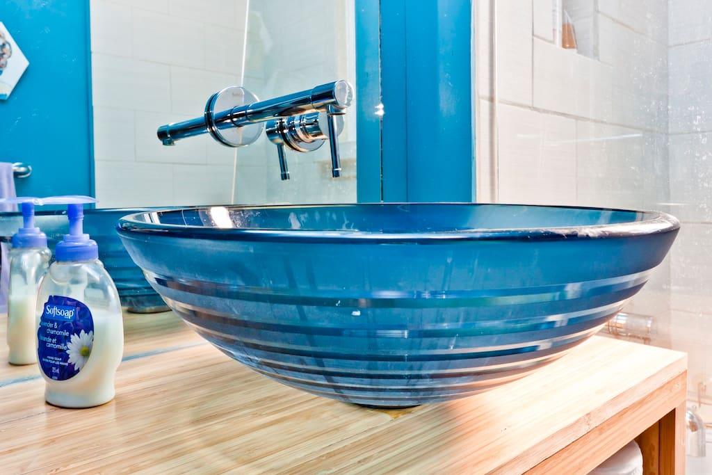 ultra modern newly renovated bathroom.