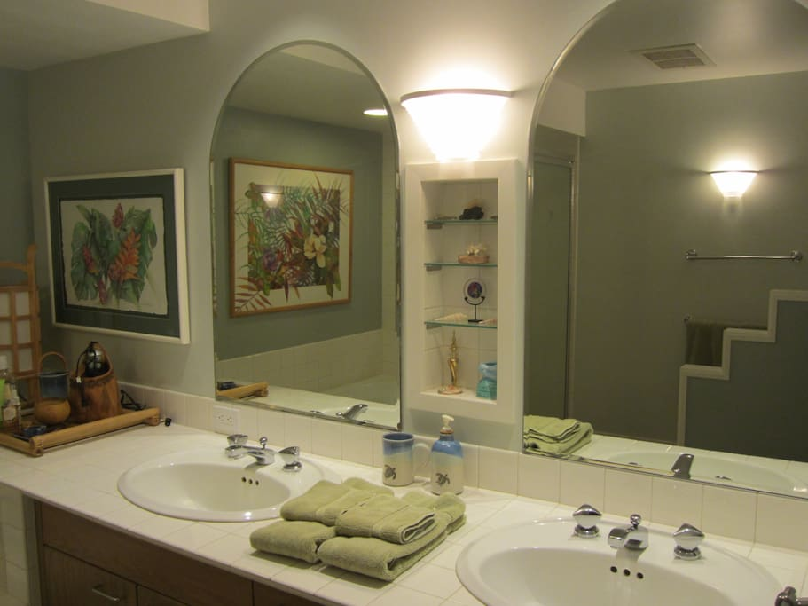 Master Bath with large tub and shower as well as double sinks.