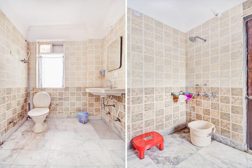 Common toilet bathroom between room no 1 and 2.