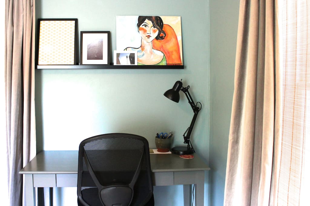 There is also a desk in the bedroom in case you need to do some work from home. And there are thick curtains to provide privacy.