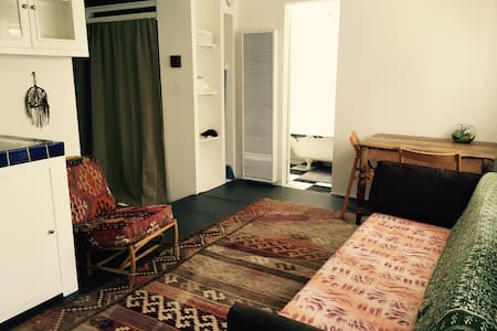 """Venice Beach Private Studio Bungalow on Superba with kitchen and patio. Clean and tastefully decorated for a lovely stay in Venice. Conveniently located a block from the """"Linc"""", a few more to Abbot Kinney and 1 mile to the beach."""