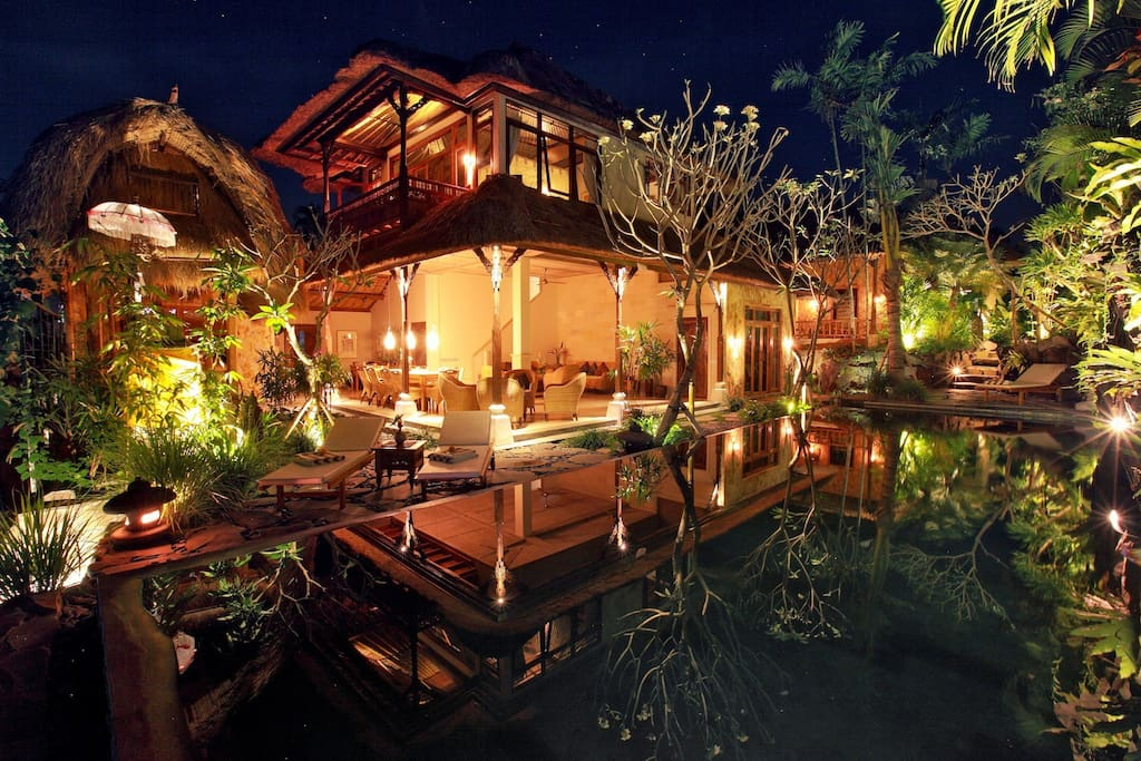 Here is our beautiful romantic villa. Night time is a great reflection time by the pool.
