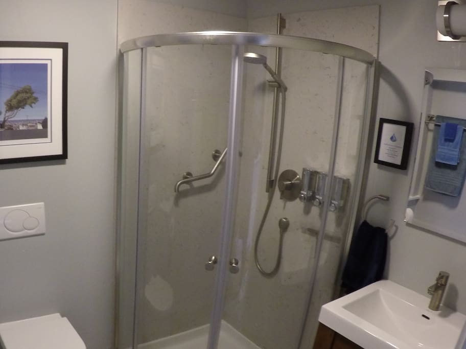 Shower in style in your adjustable space-age shower featuring the timeless designs of Hansgrohe...