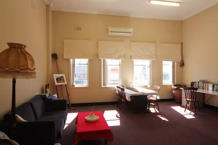 Furnished studio in the city precinct close to Museum, Civic Theater,  cafes, train & Buses ($4.50 to airport).  High ceilings, carpet, tall windows with sunny aspect, air conditioning heating / cooling, rustic kitchen, double futon & foldout couch.