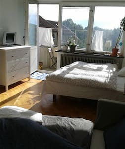 The appartment has a sleeping/living room, big kitchen, bathroom and balcony with nice view. The furniture includes a bed, a sleepingcouch, tables, piano, garderobe etc. The appartment is very sunny and cosy in a green area. 15 min by foot to center.