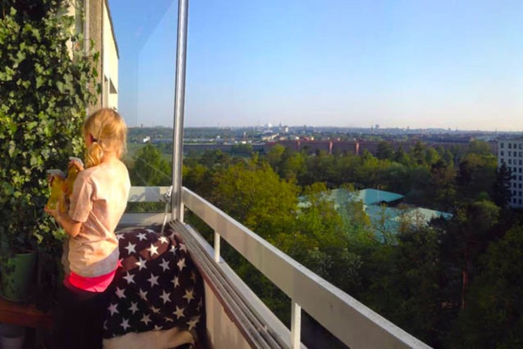 Top floor. Vistas over Stockholm. Royal National City Park in foreground.
