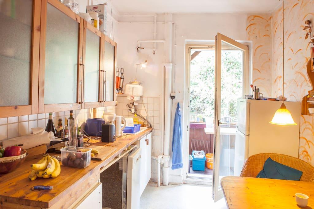 Küche mit Durchgang zum überdachten Holzbalkon