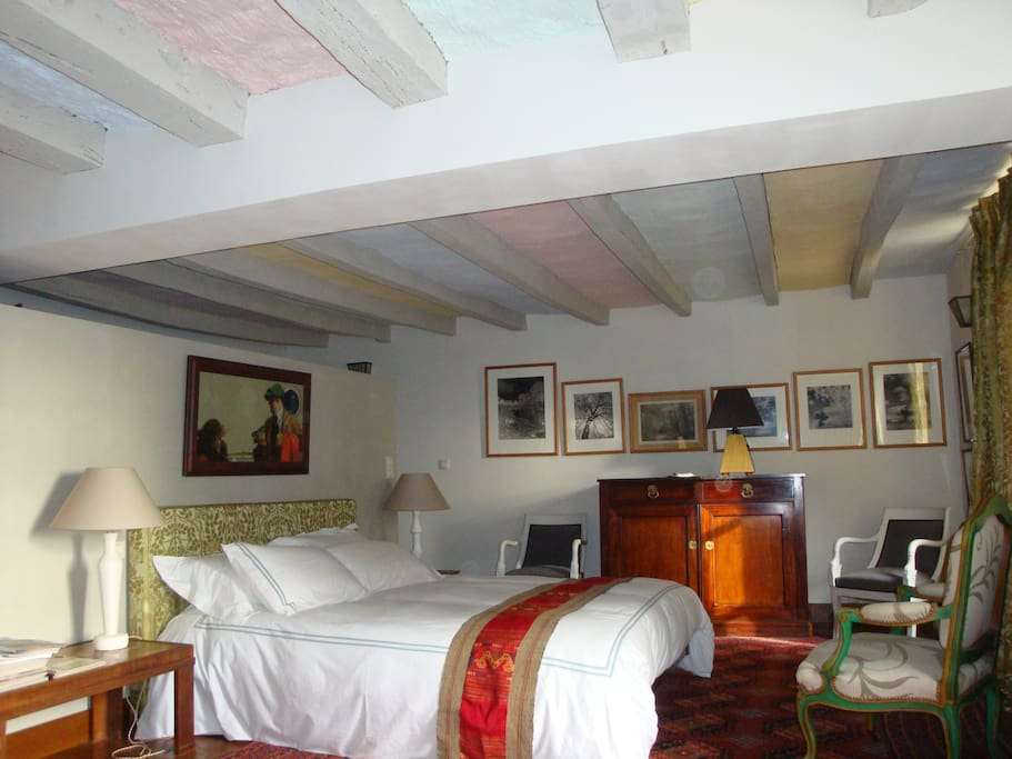 A spacious room fresh decorated with a large and comfortable bed