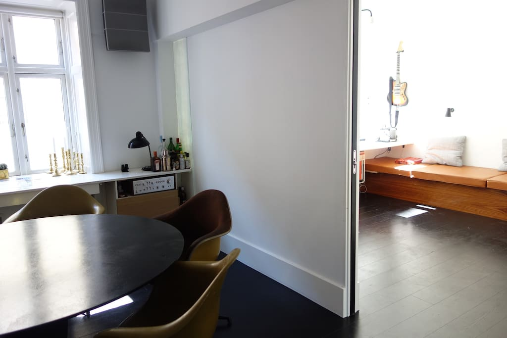 Dining room with view to second bedroom
