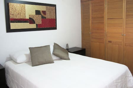 Apartment in Polanco. Master bedroom with queen bed. Second bedroom with double futon.