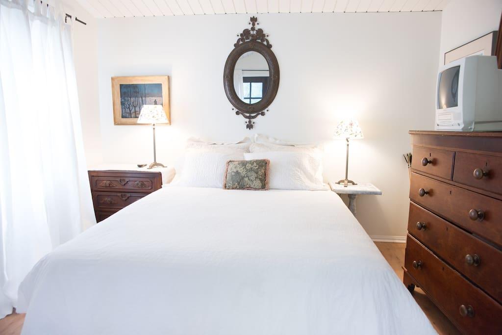 Bedroom with queen bed with French doors to garden