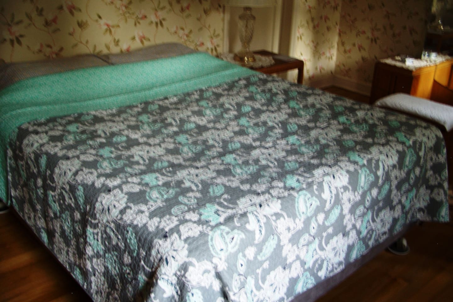 Spacious High queen bed with new mattress & box spring