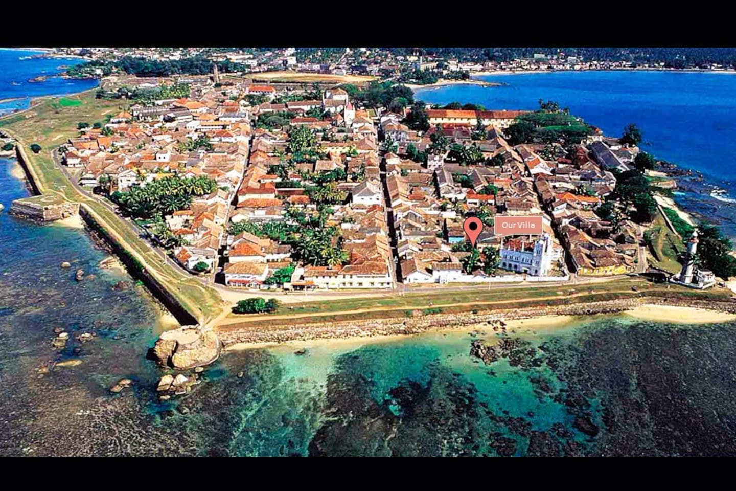 An aerial view of the Galle Fort, a UNESCO World Heritage Site. Location of our Villa in the Centre of the Fort is shown above. Convenient, historical and in close proximity to all historical sites within the Fort and famous restaurants and shopping malls