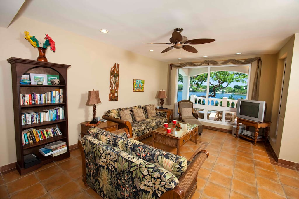 Main indoor living area with Caribbean views