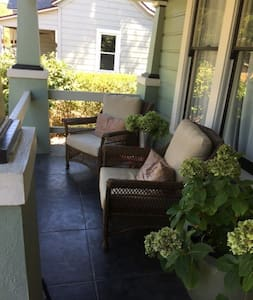 Our beautiful home is within walking distance of the Plaza. There are three bedrooms (1 King, one queen and one full) and two full bathrooms. Our backyard is an amazing place to relax, visit, drink and enjoy a meal.