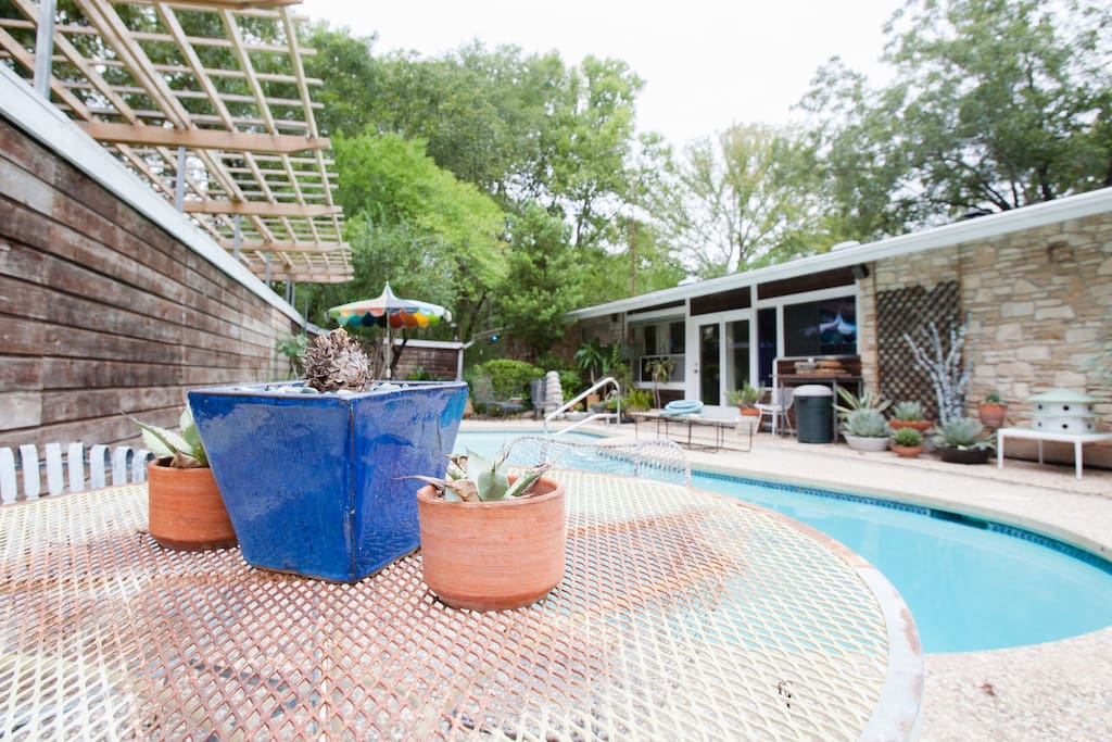 Sunny pool with plenty of privacy for grilling, a  gathering, or a secluded read.