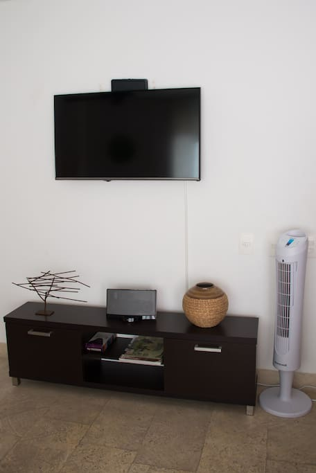 TV, Bose, and fan in living room