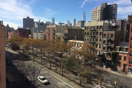 Spacious room with lots of natural light available in New Yorks Lower East Side. Centrally located, apartment has full kitchen facilities, bathroom, wifi and cable. Sharing with 2 girls and a small dog very clean dog.