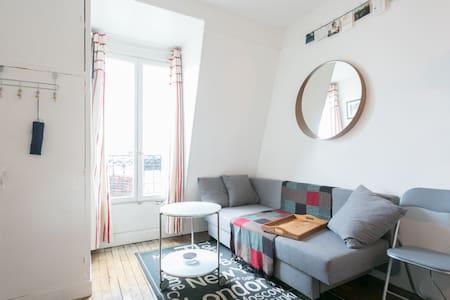 Chambre cocon Paris, exposé sud, cheminée, parquet - Paris - Lägenhet