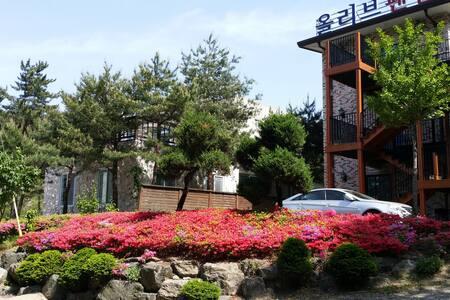 개별테크와 월풀스파가 있는 속초 설악산 전망의 커플, 가족, 단체 객실, 힐링 펜션 - Joyang-dong