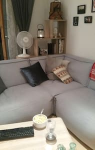 Beautiful blue comfy couch, in small flat, for one - Pfronten