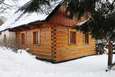 Classic wooden cabin with fireplace - Blockhütte