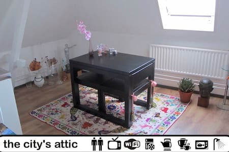 A charming attic in the appartment were a live. Attic has it's own kitchen, tv, wifi, table and chairs and double bed. You will be sharing the nearby bathroom with a toilet included.