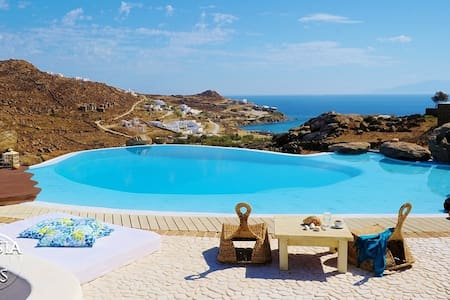 The villa is located on the top of the hill that separates the two most famous beach, Paradise and Paranga.  Both beaches are sheltered from the strong north wind in Mykonos, and just a 10-minute walk from the villa. The main villa and guest house.
