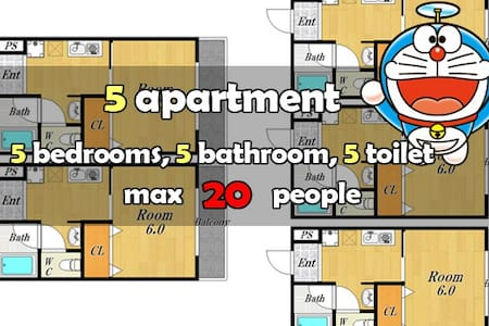 5-Room Apt for 20 People Near Sta. - Appartement