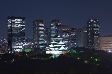 Amazing View of Osaka Castle 2mins to Sta+WIFI,TV - Daire
