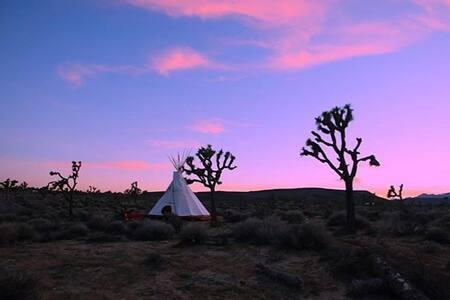 Golden Moon Tipi at Lazy Sky-(2) - Yucca Valley - Tipi