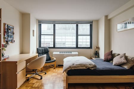 You can rent one or two of the bright, clean, and sunny rooms with private bathroom in my apartment located just next to Columbus Circle. You will love living in the heart of Manhattan just across the street from Columbus Circle and Central Park.