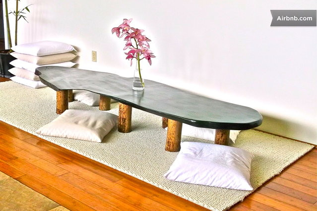 Floor Dining Pillows : Mango wood dining room table with buckwheat filled large floor pillows ...japanese-zen style.